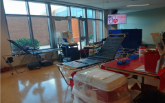 Gurneys and Blood drive set up