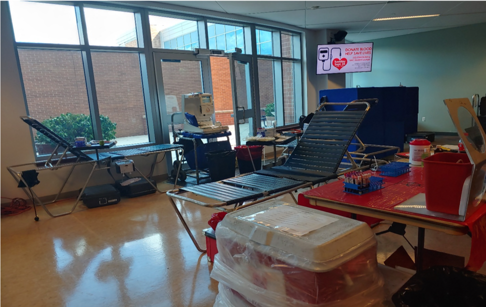 Gurneys and blood drive set up at North Hudson Campus
